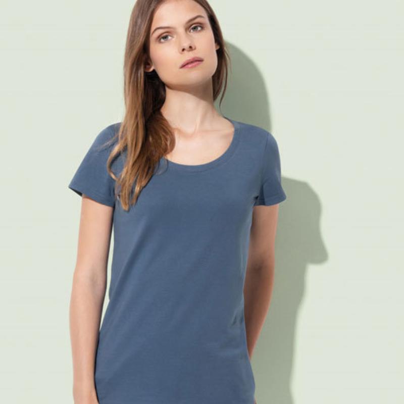 St9310 Dames T Shirt Organic Stedman Janet Crewneck