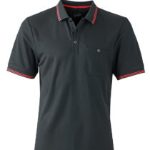 Jn702 Heren Polo Micropolyester Black Red