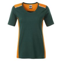 Jn859 Dark Green Orange Dames Werk T Shirt