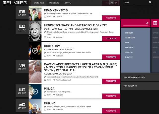 Agenda page on the melkweg website