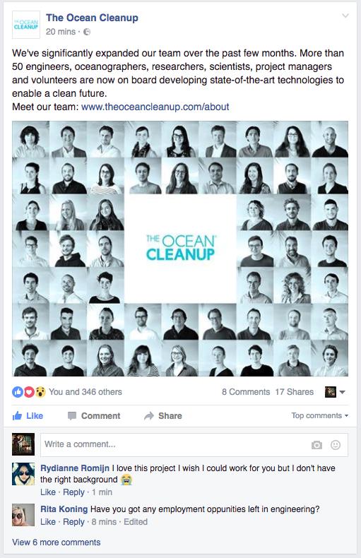 Geslaagde campagne voor het aantrekken van talent. The Ocean Cleanup.