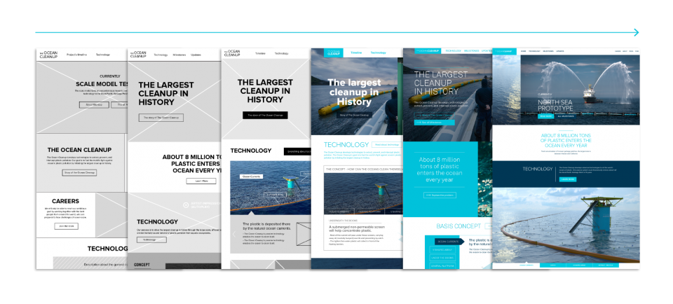 Evolution of the design of Ocean Cleanup Website from wireframe to final design