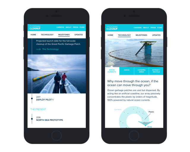 The ocean cleanup visual design on mobiles 2 screens