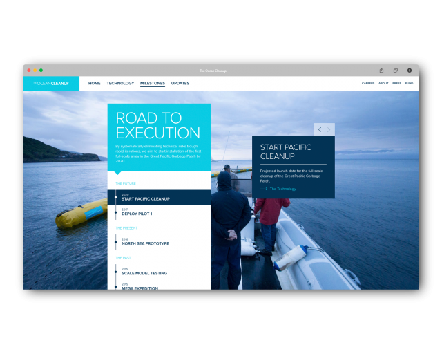 The ocean cleanup visual design on desktop