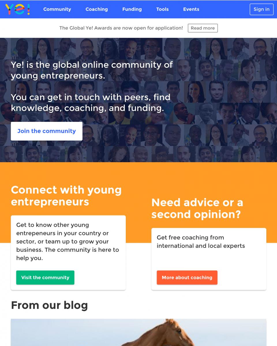 Screenshot Ye Community homepage