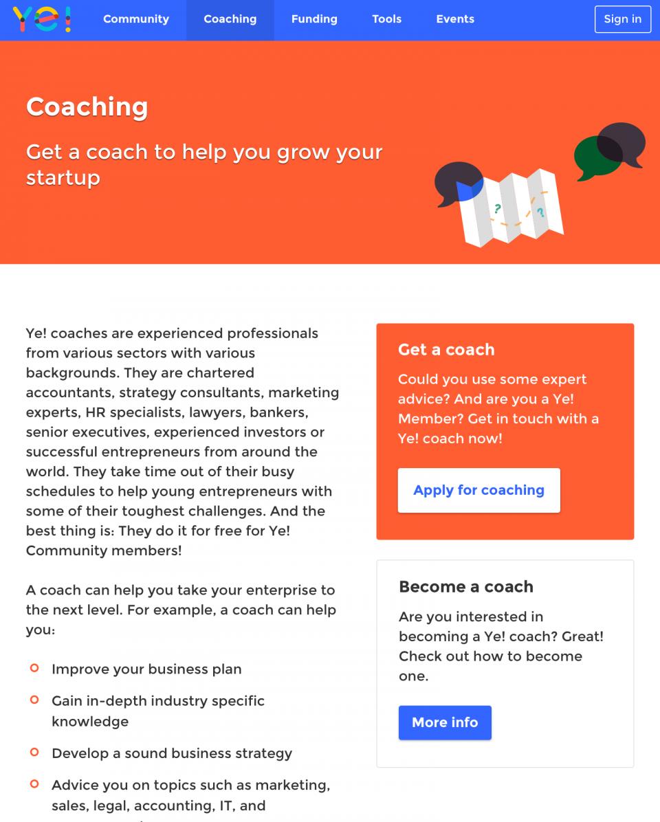 Screenshot Ye Community coaching pagina