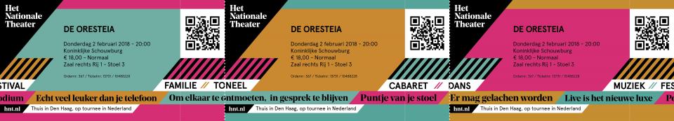 Het Nationale Theater (HNT) tickets met nieuwe branding door Grrr