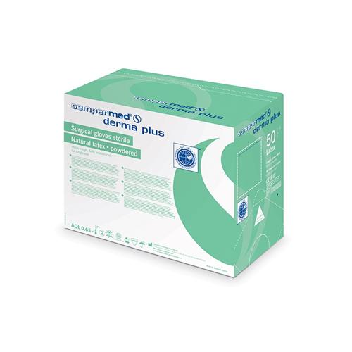 SEMPERMED DERMA PLUS HANDSCHOENEN LATEX GEPOEDERD STERIEL MAAT 6.5 (50pr)