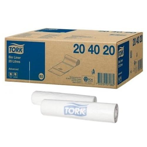 TORK BIN LINER AFVALZAKKEN MINI 20ltr TRANSPARANT NR.204020 (10x100st)