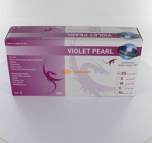 FHS HANDSCHOENEN POEDERVRIJ NITRILE VIOLET PEARL EXTRA-SMALL (PAARS/100st)