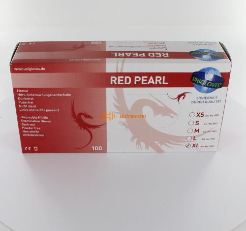 FHS HANDSCHOENEN POEDERVRIJ NITRILE RED PEARL EXTRA-LARGE (ROOD/100st)