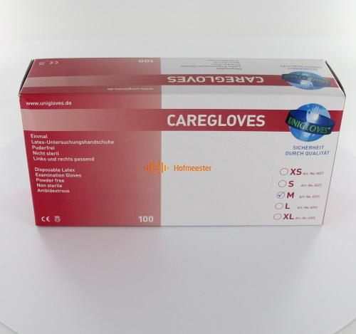 FHS CARE HANDSCHOENEN POEDERVRIJ LATEX MEDIUM WIT (100st)
