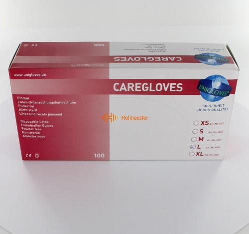 FHS CARE HANDSCHOENEN POEDERVRIJ LATEX LARGE WIT (100st)