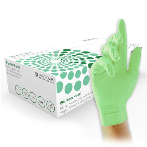 FHS HANDSCHOENEN POEDERVRIJ NITRILE GREEN PEARL MEDIUM (GROEN/100st)