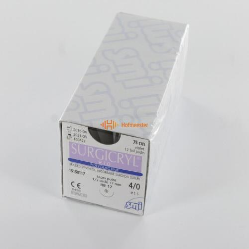 SMI SURGICRYL 910 PAARS 4-0 MET 1/2 CIRKEL RONDBODY NAALD HR17mm 75cm (12st)