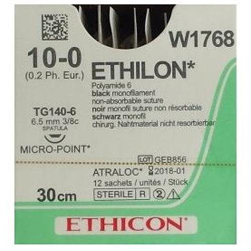 J&J ETHILON 10-0 W1768 MET 3/8 GEBOGEN SPATULA NAALD MET MICROPOINT 30cm (12st)