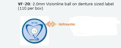 SUREMARK DENTALMARK SKINMARKERS 2.0mm VISIONLINE BALL ON DENTURE SIZED LABEL (110st)