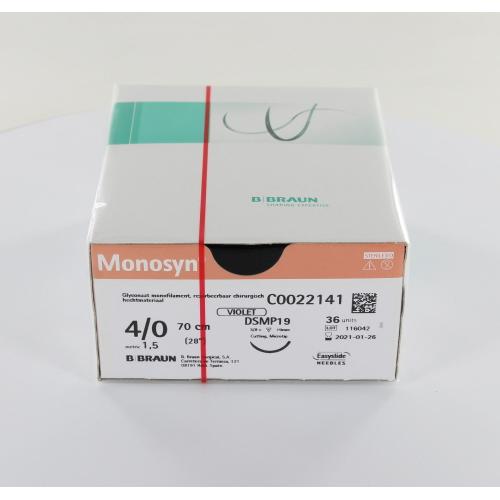 B. BRAUN MONOSYN HECHTMATERIAAL 4-0 VIOLET MET DSMP19 3/8 CIRKEL SNIJDENDE NAALD 70cm (36st)