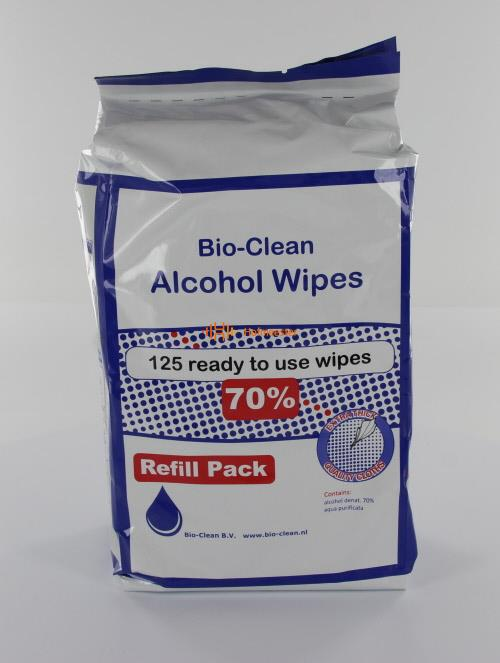 BIO-CLEAN MEDICAL 70% ALCOHOL WIPES 20x20cm (125st)