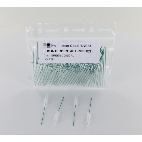 FHS INTERDENTAAL RAGERS CONISCH GROEN 3,0-6,5mm ZONDER HANDVAT (100st)  65mm