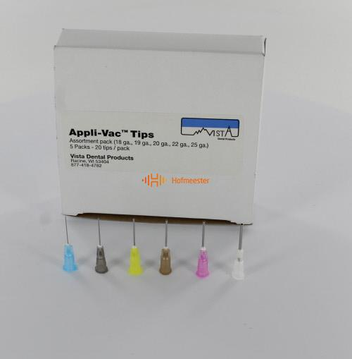VISTA APPLI-VAC 3/4 BENDABLE TIPS ASSORTED (5x20st/18G,19G,20G,22G,25G)