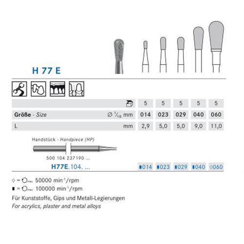 KOMET HP CARBIDE FRAIS H77E060 (5st)
