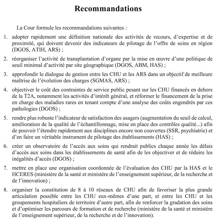 La Cour des comptes formule huit recommandations dans son rapport.
