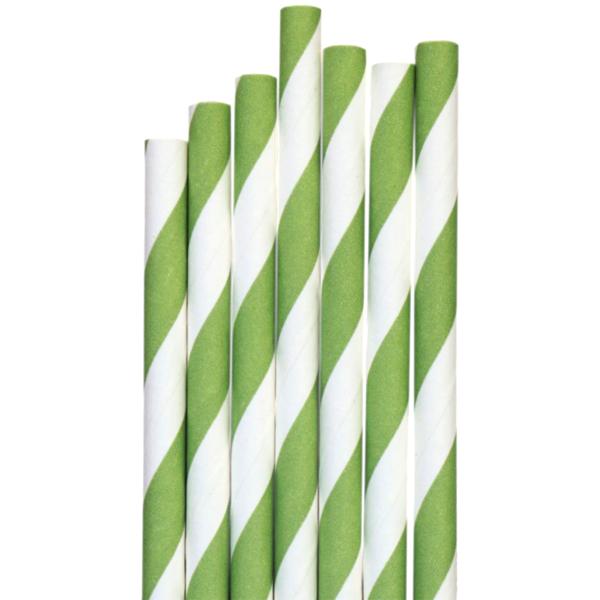 Företagsjulklappar - Papperssugrör Grön-vit randig Ø 8 x 200mm 325st/fp