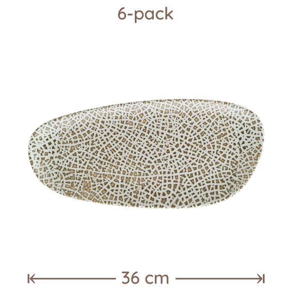 Bonna Lapya Wood Rekt Tallrik D:36cm 6-Pack
