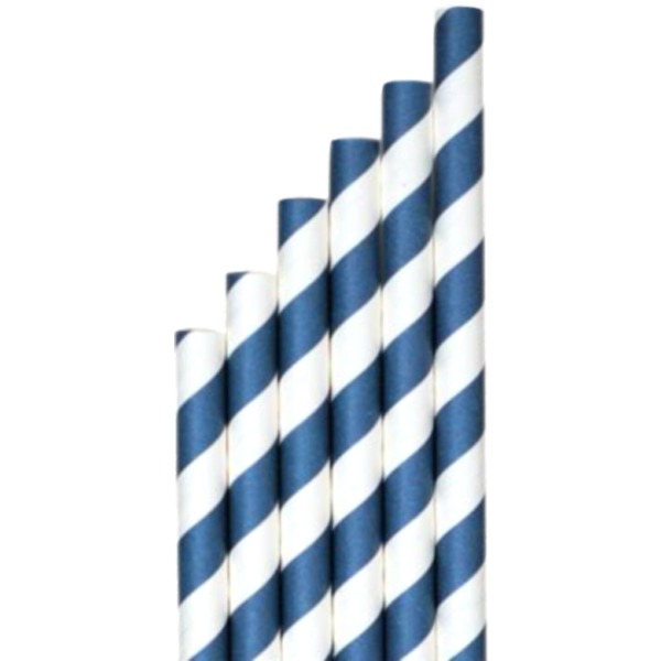 Företagsjulklappar - Papperssugrör Blå-vit randig Ø 8 x 200 mm 325st/fp