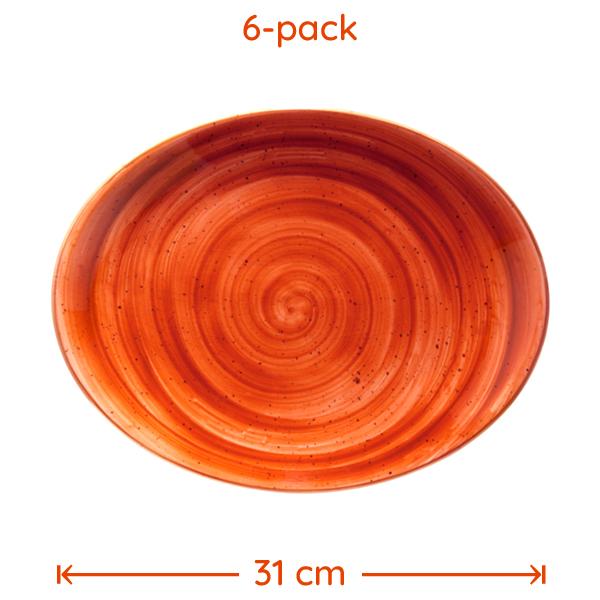 Grill-Tallrik Terracotta 31x24cm 6-pack
