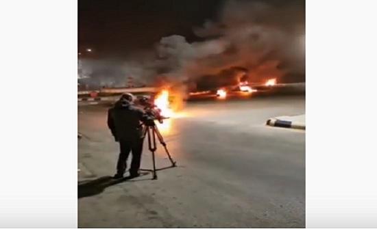بالصور : اعمال شغب في الرمثا احتجاجا على عدم الالتزام بوعود الحكومة للبحارة