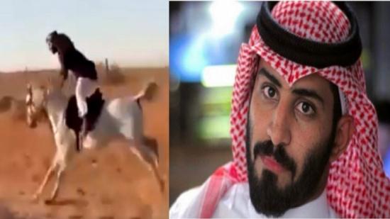 شاهد..لحظة سقوط عبدالرحمن المطيري من على ظهر حصان وفقدانه للذاكرة