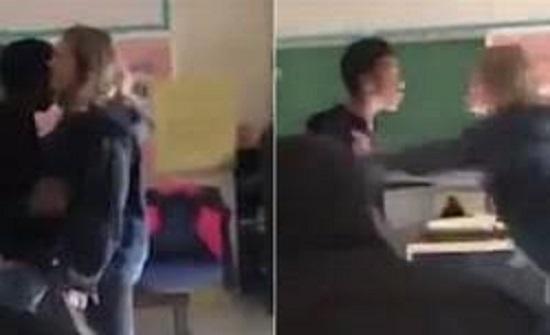 بالفيديو : اعتداء عنيف  لطالب على مدرسته في أمريكا