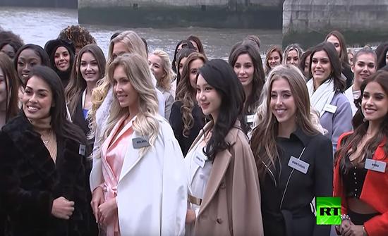 بالفيديو : المتنافسات على لقب ملكة جمال الكون يصلن لندن