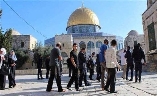 مستوطنون متطرفون يقتحمون باحات المسجد الاقصى بحراسة شرطة الاحتلال