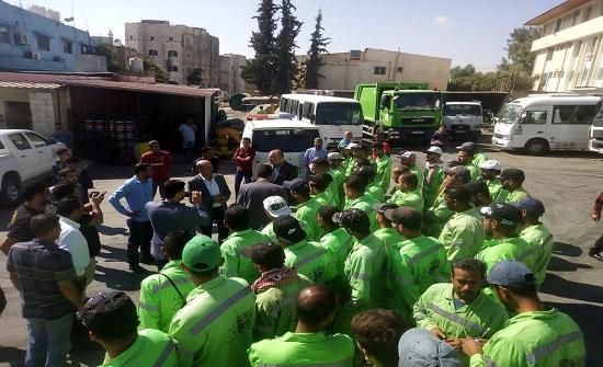 حملة نظافة وأعمال تجميلية بالتعاون بين الأمانة وبلدية سحاب