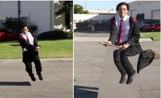 """بالفيديو : ساحر أمريكي يطير على عصا مكنسة مثل """"هاري بوتر"""" .. ومفاجأة لحظة الكشف عن الخدعة"""