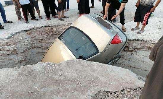 اصابة اثر تدهور سيارة في الرمثا