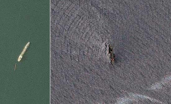 صور من الفضاء للسفينة الإيرانية التي ابتلعها خليج عمان