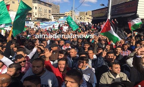 وقفة احتجاجية ضد خطة السلام الاميركية بمخيم الشهيد عزمي المفتي
