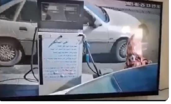 العقبة  : اشتعال محطة محروقات بسبب سائق .. شاهد