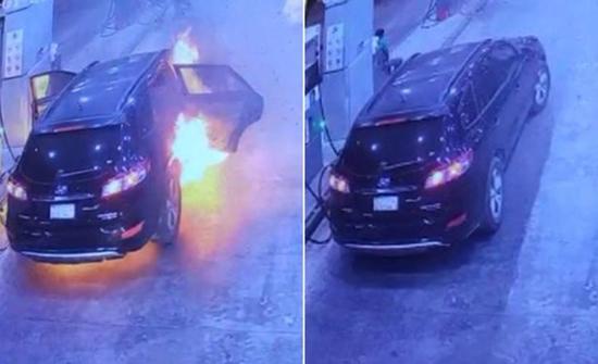 بالفيديو : اشتعال سيارة في محطة وقود بالرياض داخلها امرأة