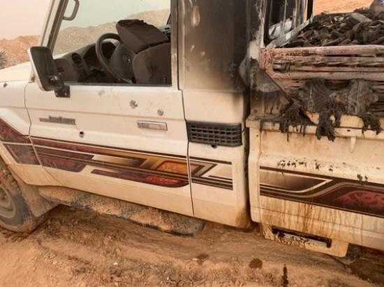 صور : الجيش يدمر مركبة تحمل كميات كبيرة من المخدرات