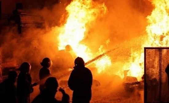 حريق مستودع في إربد