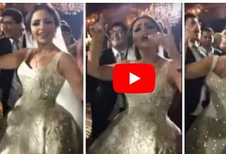 """عروسة تتعرض للسقوط بعدما حسدتها فتيات الحفل لجمالها وأناقة فستانها """" فيديو """""""