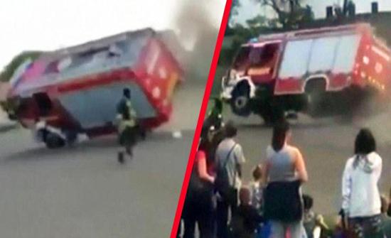 شاهد: ماذا حدث لـ شاحنة إطفاء استعرض سائقها أثناء تدخله لإطفاء سيارة مشتعلة في المجر