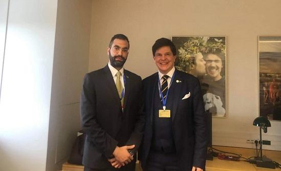 النائب زيادين يلتقي رئيس البرلمان السويدي على هامش أعمال مؤتمر رؤساء البرلمانات - صور
