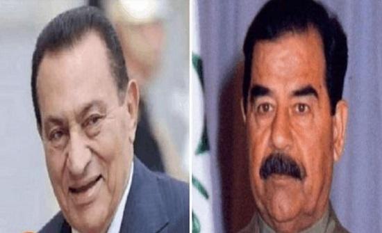 فيديو نادر يجمع زوجتي الرئيسين صدام حسين وحسني مبارك
