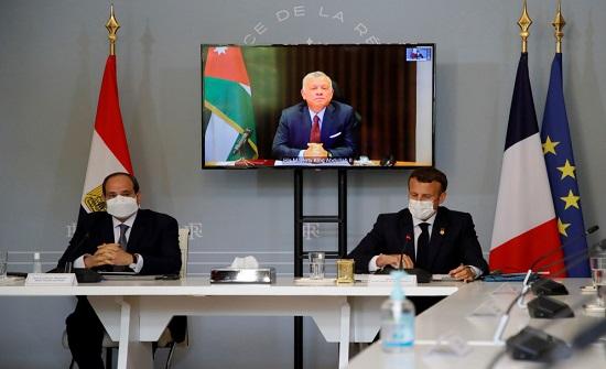 الملك يبحث مع السيسي وماكرون جهود وقف العدوان الإسرائيلي على غزة